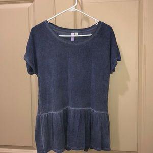 dark blue flowy shirt